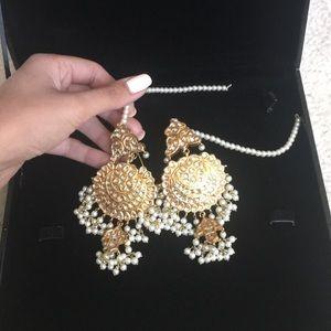 SABYASACHI KUNDAN PEARL GOLD BRIDAL EARRINGS REAL